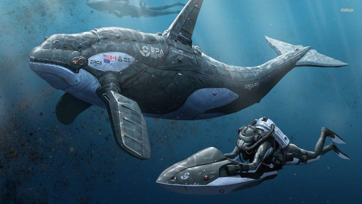 Divers and a robotic orca wallpaper – Fantasy wallpapers – #