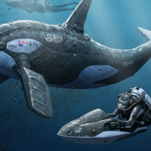 download Divers and a robotic orca wallpaper – Fantasy wallpapers – #