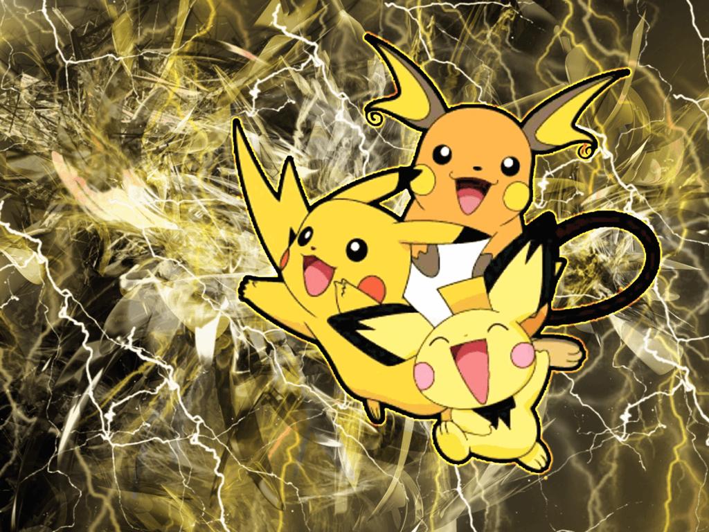 Pichu ~ Pikachu ~ Raichu (free wallpaper) by Inoune on DeviantArt