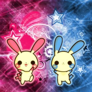 download ipad Wallpaper] Plusle and Minun by Inoune on DeviantArt