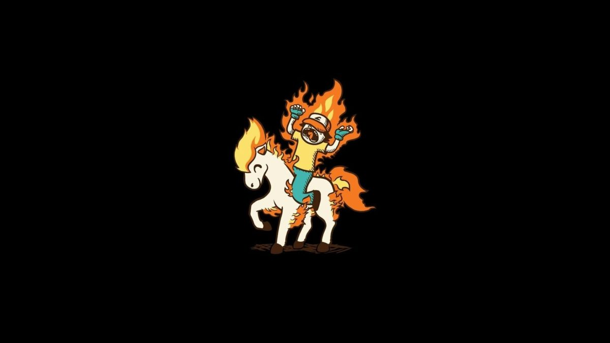 Pokemon ponyta black background minimalistic simple wallpaper …