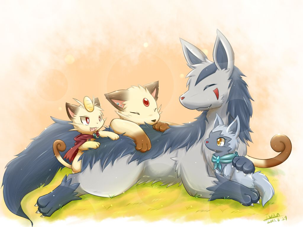 meowth, mightyena, persian, and poochyena (pokemon) drawn by ivan …