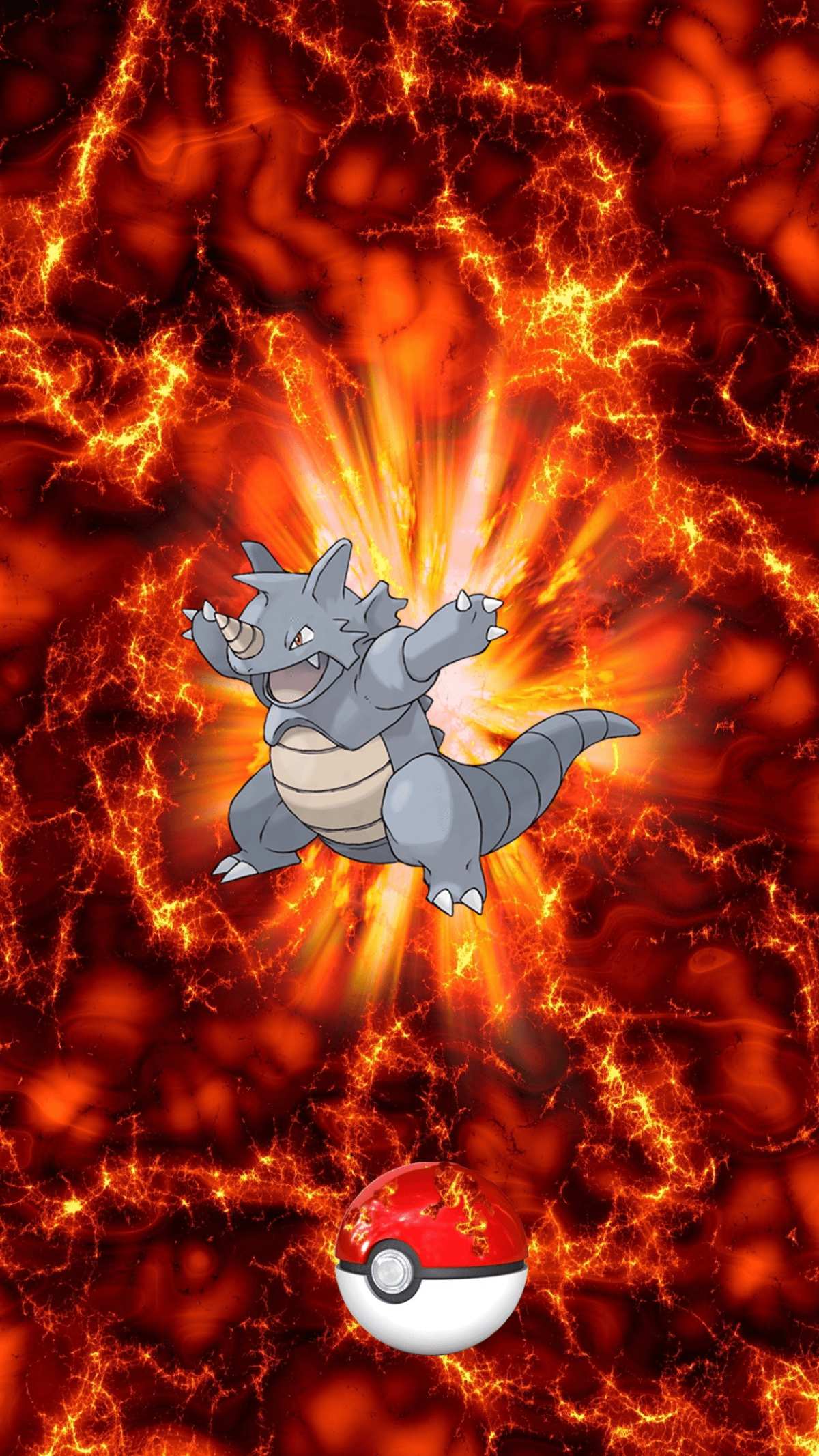 112 Fire Pokeball Rhydon Sidon Rhyhorn | Wallpaper