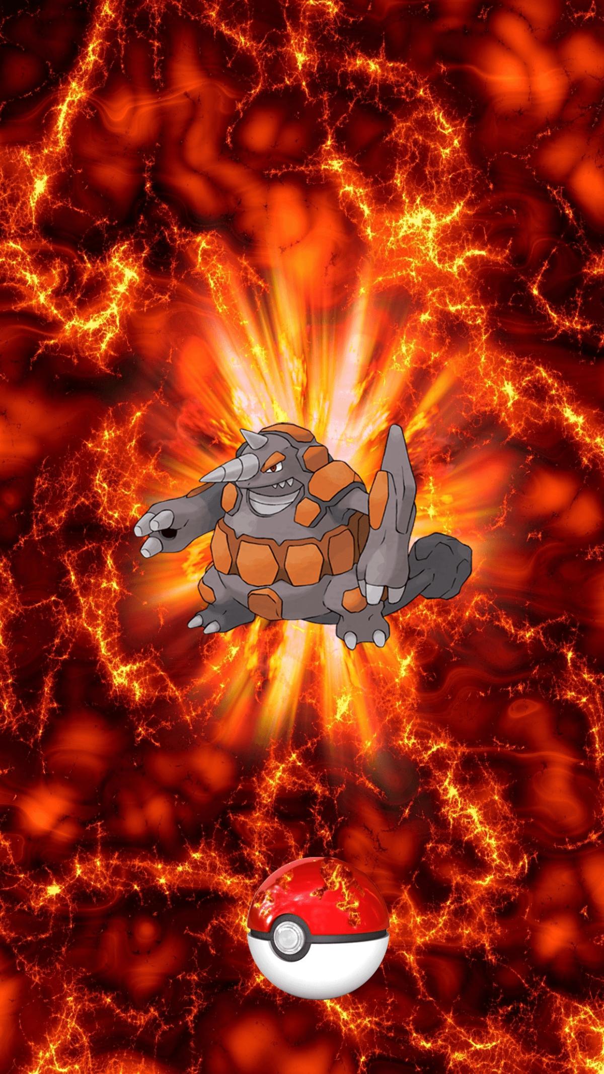 464 Fire Pokeball Rhyperior Dosidon 36 Rhydon | Wallpaper