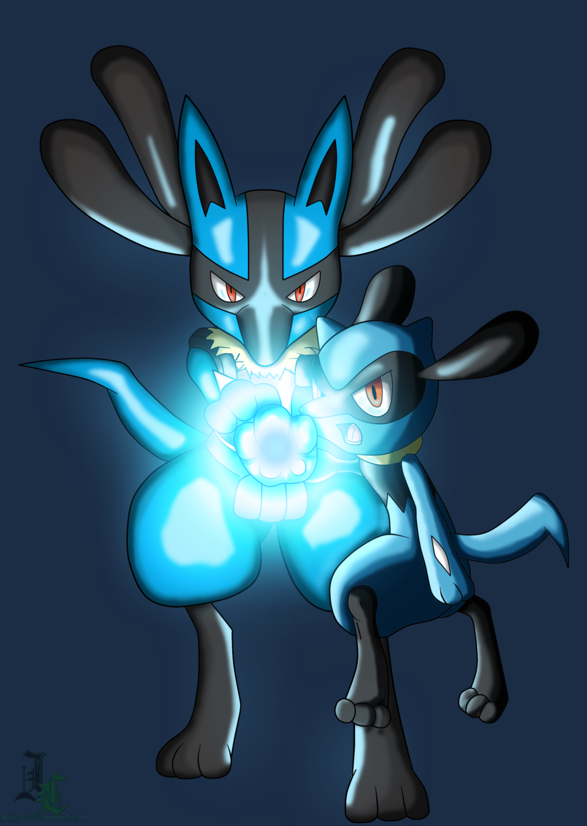 Lucario and Riolu Aura Sphere Colored by JamalC157 on DeviantArt