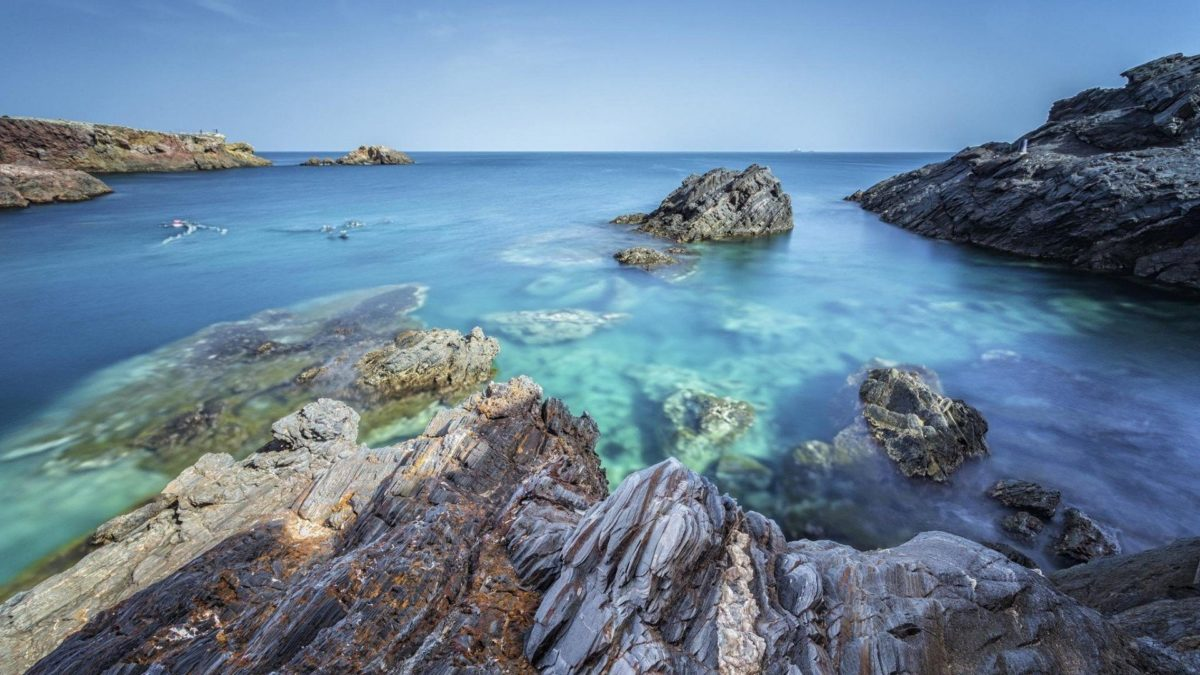 Beaches Sea Beach Blue Rocks Free Hd Wallpaper Wallpapers Nature …