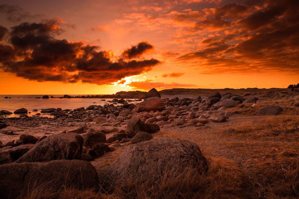 Splendor, Nature, Beach, Sea, Fire, Sunset, Rocks, High, Resolution …