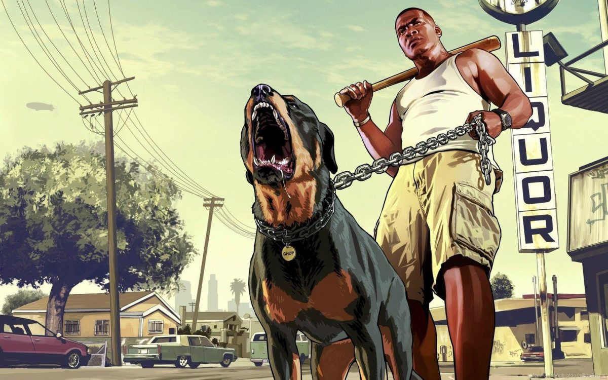 Download 1680×1050 GTA 5 Franklin With A Rottweiler Wallpaper