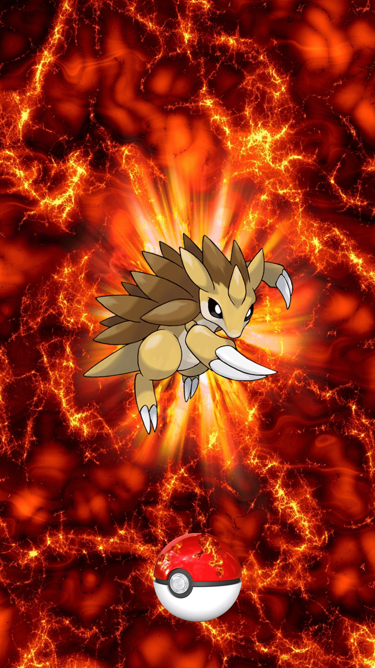 028 Fire Pokeball Sandslash Sandpan Sandshrew | Wallpaper