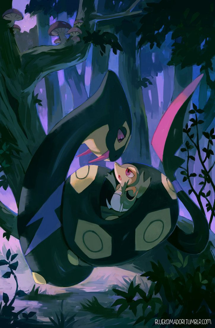 Seviper and Snivy by bluekomadori on DeviantArt