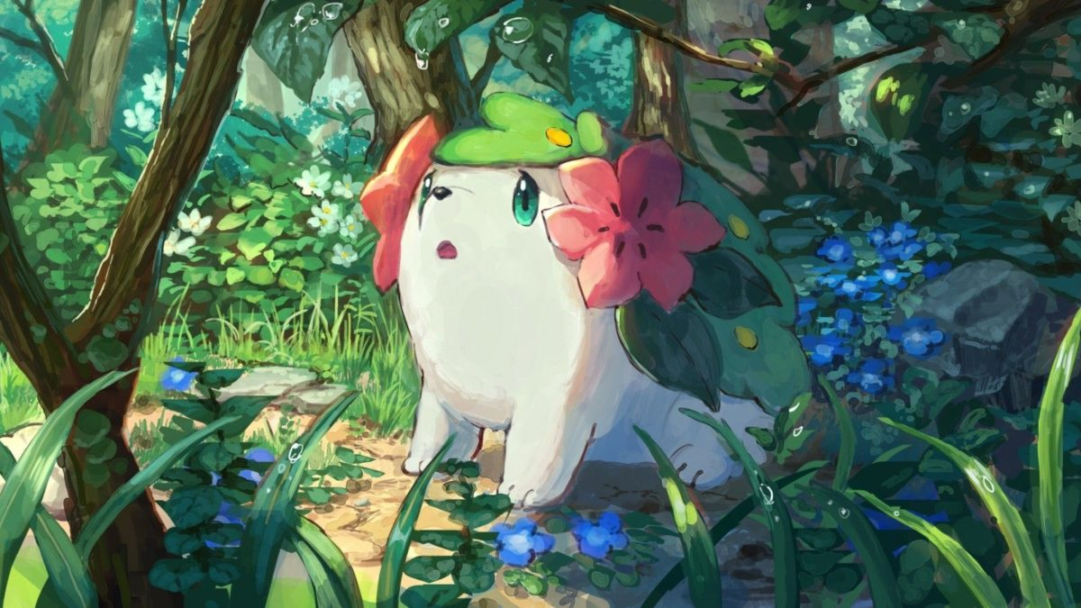 Download 1600×900 Pokemon Shaymin, Cute, Forest, Bubbles Wallpapers …