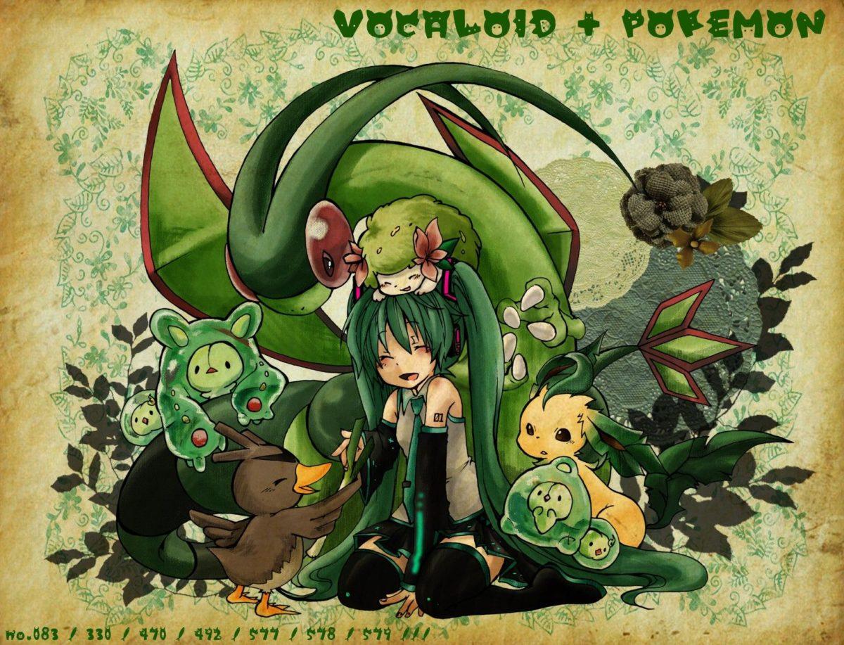 pokemon, Vocaloid, Hatsune Miku, Flygon, Leafeon, Shaymin :: Wallpapers