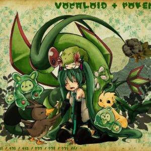 download pokemon, Vocaloid, Hatsune Miku, Flygon, Leafeon, Shaymin :: Wallpapers