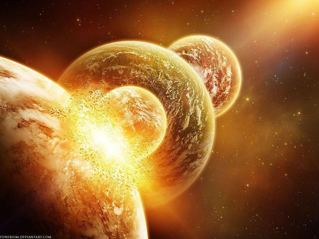 colliding planets Wallpaper | High Quality Wallpaper