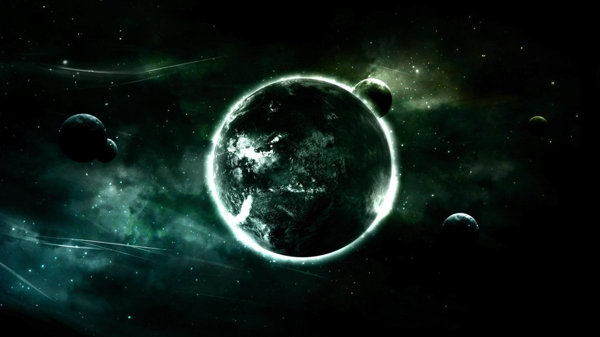 green outer space planets tone Wallpaper 1920×1080 | Hot HD Wallpaper