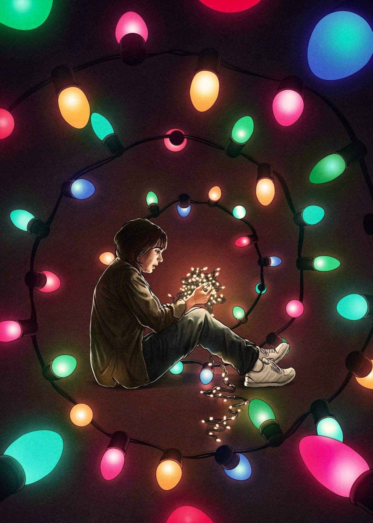 Stranger Things, #colorful, #lights, #artwork, #Netflix …