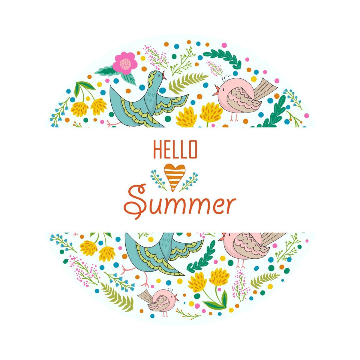 Wallpaper Hello Summer, Floral, Design, Flowers, Birds, 4K, Creative …