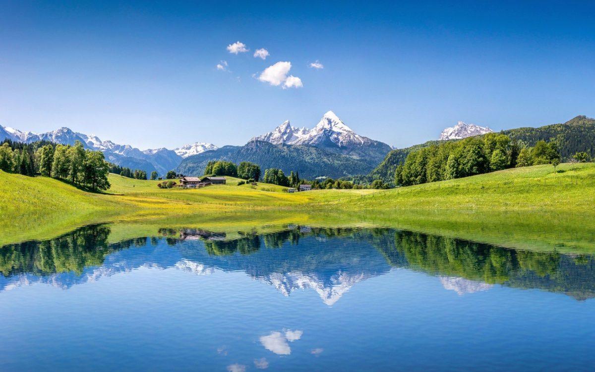 Wallpaper Summer mountains, Lake, Alps, 4K, Nature, #5352