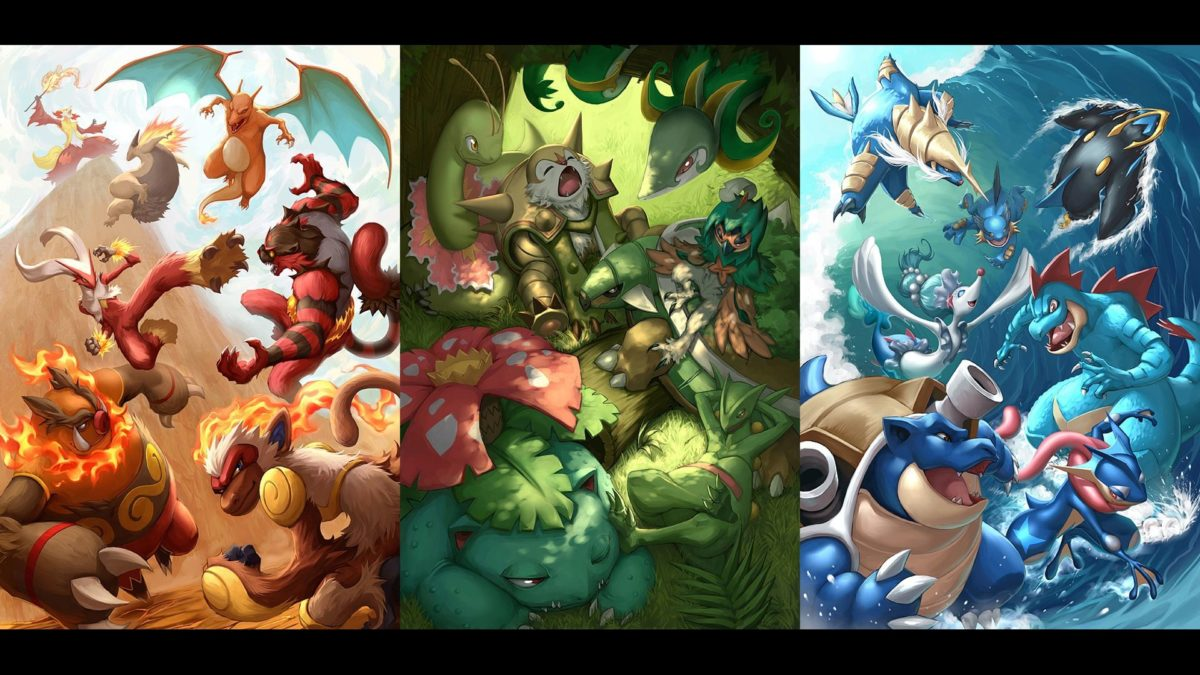 Pokemon Fire Grass and Water Type Wallpaper #19307