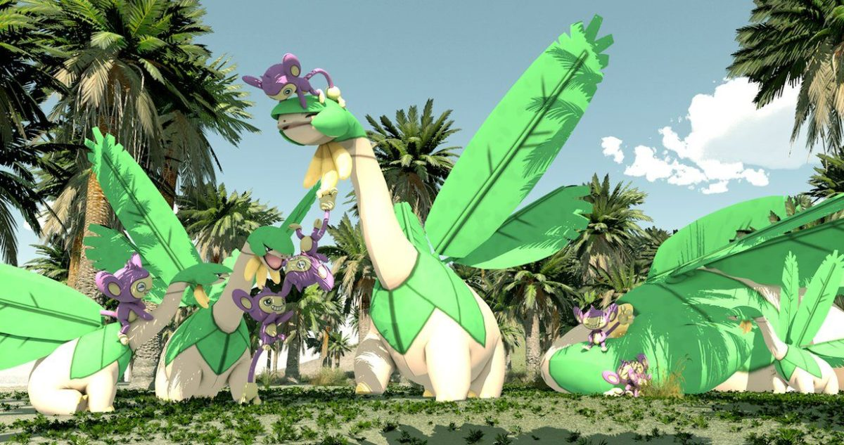 Tropius and Aipom living together by kutaras on DeviantArt