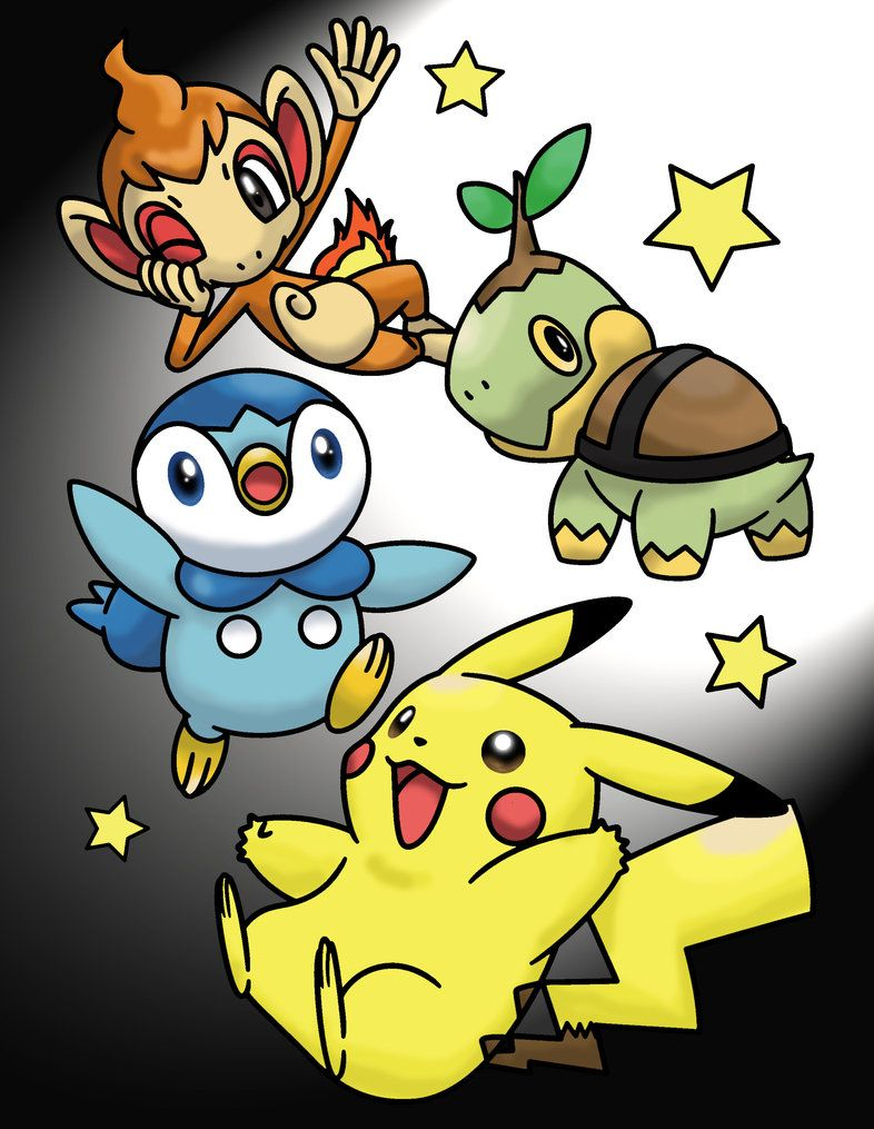 Pikachu, Turtwig, Chimchar, and Piplup Color Page by MihaelLawliet …