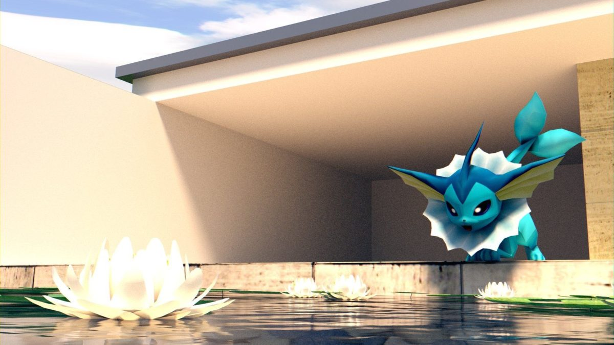 Vaporeon – We have a pool! [WALLPAPER] [3D MODEL] by TheModerator …